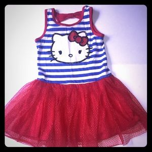 Hello Kitty Tutu Red Striped Blue XS 4-5 Girls